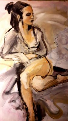 """Stella Krehl """"Ballettpause"""", 2018, Öl auf Leinwand, 70x100 cm"""