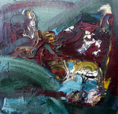 """Stella Krehl """"Seenlandschaft"""",1998, Öl auf Leinwand, 85x85 cm"""