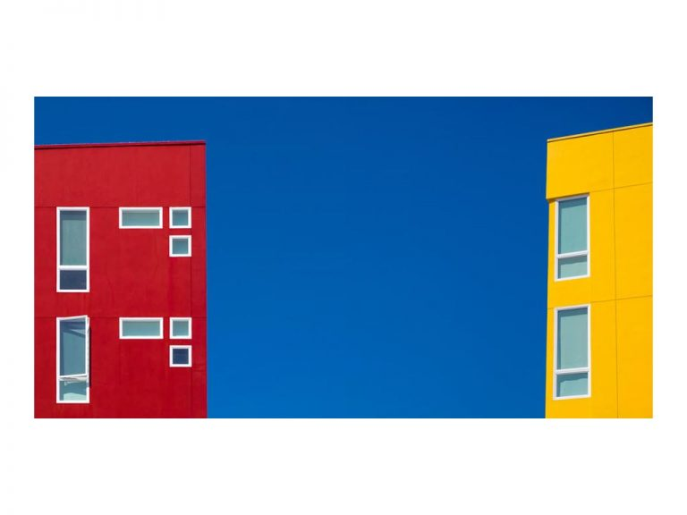 """wassily"" Kazimirski ""SimpliCity II"", Red And Yellow House I, 75x50 cm, FineArt Print behind Acryl"