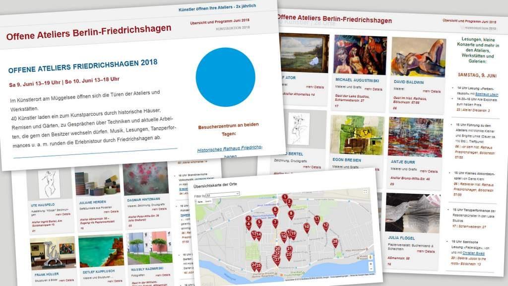 Offene Ateliers Friedrichshagen 2018-Uebersicht Titelbild Seite