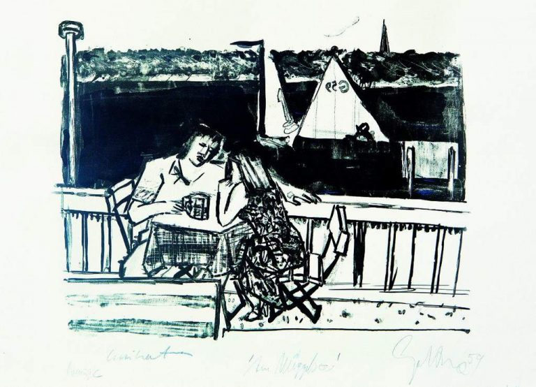 Dieter Goltzsche-Am Müggelsee-Lithographie-1959-Unikat