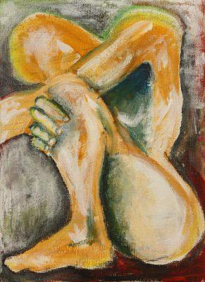 Clara Kirschbaum-Kleiner Akt-2018-Acryl auf Canvasboard- 18x13cm