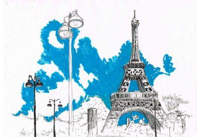 Dominique Kleiner-Eiffelturm-2019-Urban Sketches. Buettenpapier-29x21cm