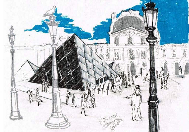 Dominique Kleiner-Louvre-2019-Urban Sketches. Buettenpapier-29x21cm