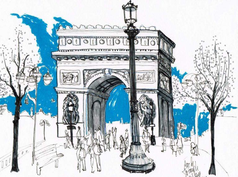 Dominique Kleiner-Triumphbogen-2019-Urban Sketches. Buettenpapier-29x21cm