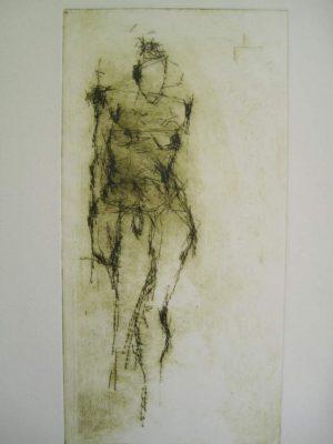 "Jutta Schoelzel, ""o.T.,"", Kaltnadel-Radierung, Platte 29,5x13cm"