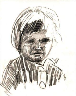 """Michael Wahl """"Susi mit Flunsch"""", Bleistift auf Papier., 2014"""
