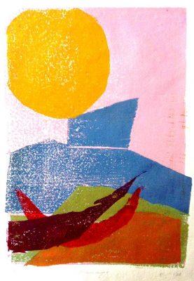 """Ulrike Koloska, """"Erinnerung"""", 2015, Farbholzschnitt auf Japanpapier"""
