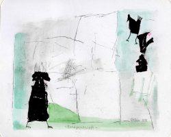 """Egon Bresien, """"Randgesellschaft"""", 2018, Aquarell, Zeichnung, Collage, 26x22 cm EG 60 €"""