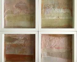 Sabine Schuldt-Schleier-2016- Materialcollagen mit Stoffen und Papieren-50x50-EG 180-einzeln50-Auktion