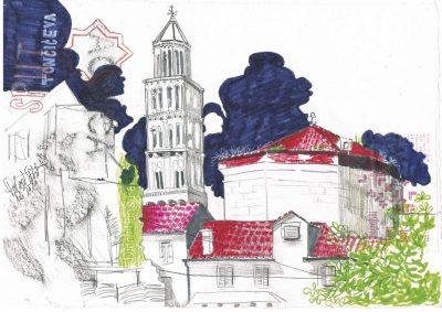 """Dominique Kleiner, Urban Sketches """"Kroatien_Palast"""""""