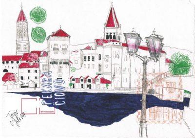"""Dominique Kleiner, Urban Sketches """"Kroatien_Trogiir"""""""