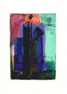 Egon Bresien,, o.T., Radierung, Aquarell, Tusche, 2006, 13x9 cm
