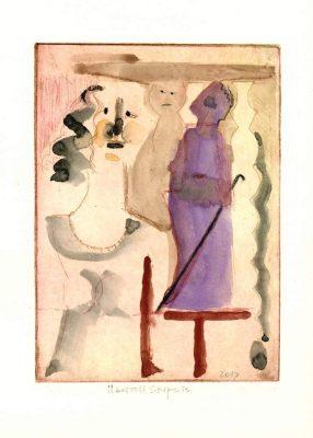 """Egon Bresien, """"Überflieger"""" Radierung, Zeichnung, 2018, 15,5x19,5 cm, 80 €"""