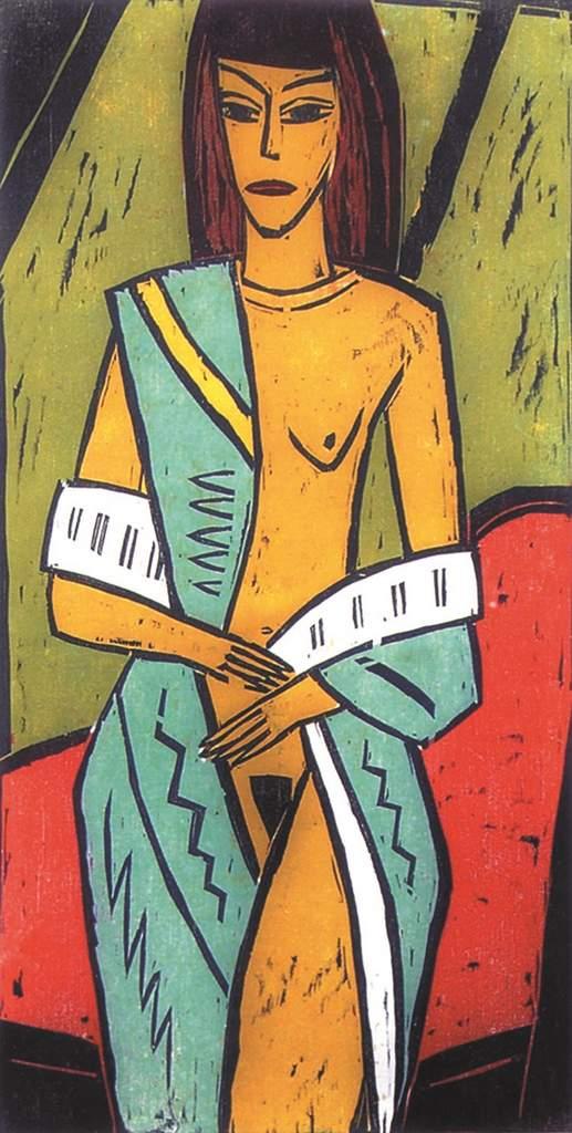 PETER RENSCH-Frau im Sari