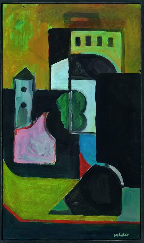"Wolfgang Leber ""Mit dem Turm"", 2014, Öl, 53x31 cm"