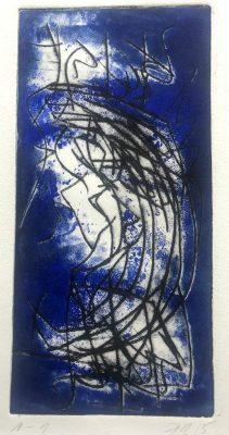 """Ingrid Bertel """"Haiku"""" (2015), Kaltnadelradierung (blau), 30x40 cm"""