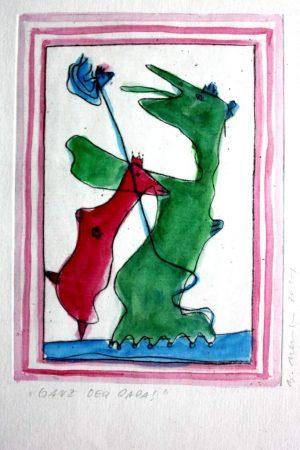 "Barbara Meinharth ""Ganz der Papa"" (2011) | Aquarell über Kaltnadel, | 12x16,5 cm"