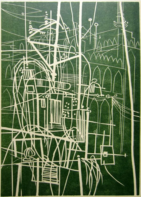 "Dagmar Hintzmann ""In Hyderabad"" (2009) | Linolschnitt / Druck: Peter Rensch"