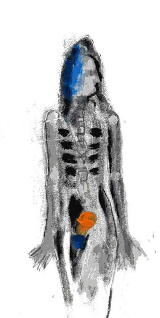 "David Baldwin ""Fig. 12"" (2020) | mixed Media: Kohle. Tusche, Acrylfarbe und Pastellkreide | 42x29 cm"