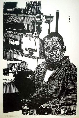 """Henry Korwald, """"Peter Rensch 20"""", 2020, Holzschnitt, 26x41 cm, 350,00 €"""