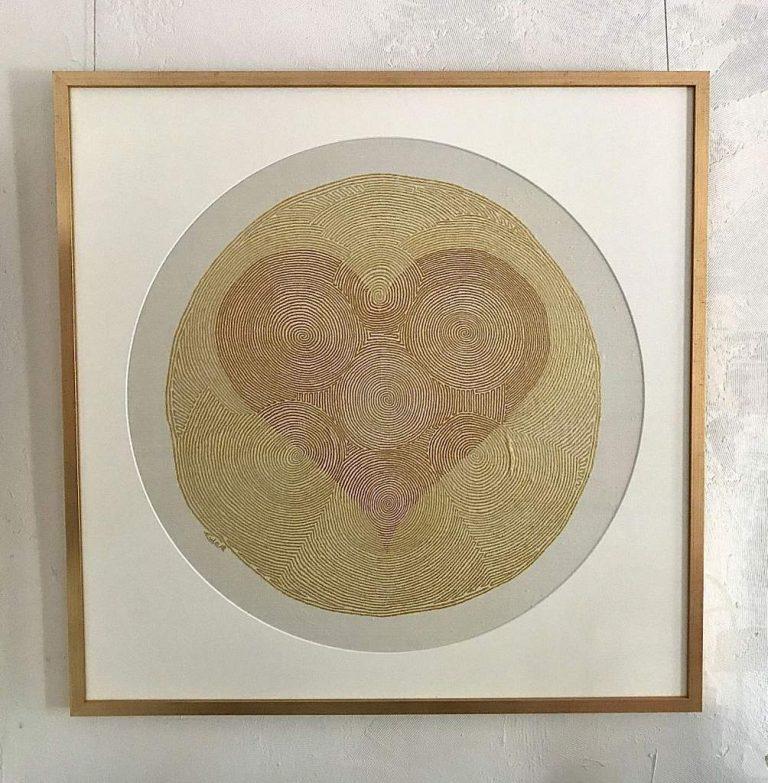 "Matthias Eule ""Herzlabyrinth"", 2019, Goldbronze auf Seide, 98x98 cm, 1.500,00 € inkl. Rahmen"