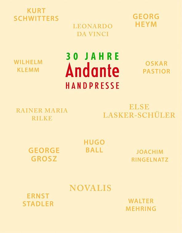 """Peter Rensch, Katalog """"30 Jahre Andante Handpresse"""", 2020, 128 Seiten mit 162 Abbildungen, 30 Euro"""