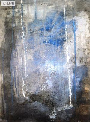 """Sabine Schuldt """"Zarte Verbindung zum Himmel"""", 1999, Acryl auf Papier, 40x70 cm, 495 Euro"""