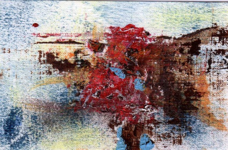 "Koki van Trotten ""Miniatur m_k11"", 2016, Acryl auf Karton, 5,5x8,5 cm, im weißen Rahmen 20x26 cm, 100 € inkl. Rahmen"