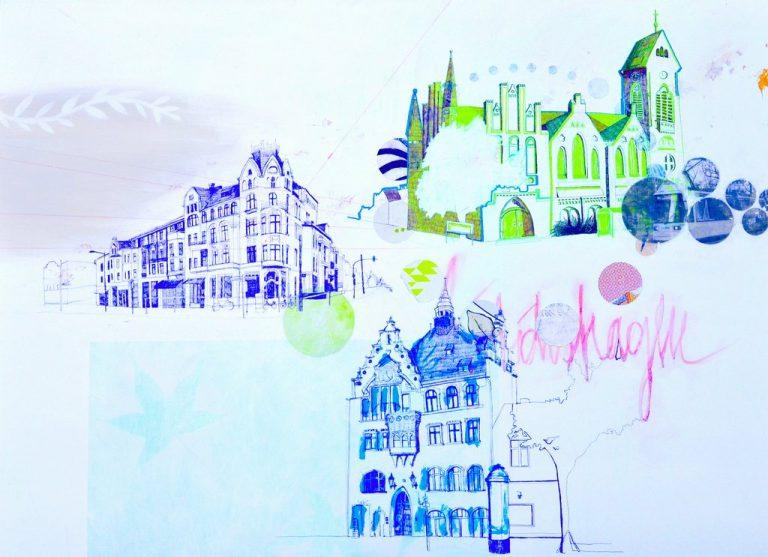 """Dominique Kleiner, """"Friedrichshagen vor dem türkisen Sonnenaufgang"""", 2017, Mischtechnik auf Leinwand, 140x100 cm, 970 € inkl. Mwst"""