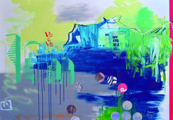 """Dominique Kleiner, """"Türkise Klänge der Philharmonie"""", 2018, Mischtechnik & Collage/ Acryl auf Leinwand, 140x100 cm, 970 € inkl. Mwst"""