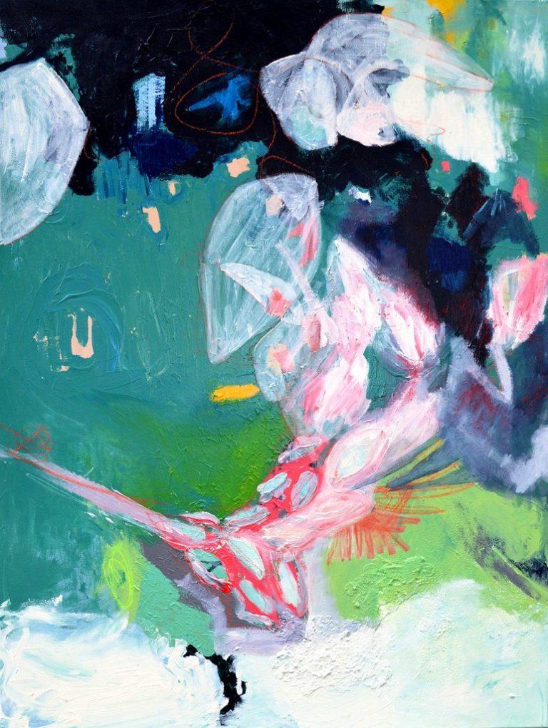 """Dominique Kleiner, """"Strandspaziergang mit türkisem Flamingo"""", 2020, Acryl/Sand/Pastellkreide auf Leinwand, 90x120 cm, 780 € inkl. Mwst"""
