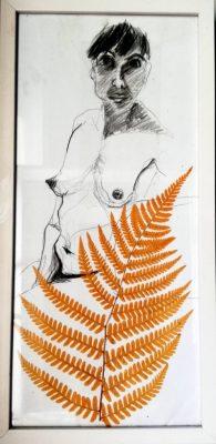 Eno Enyieokpon, Bleistift auf Papier, Farnblatt gepresst, 22x45 cm