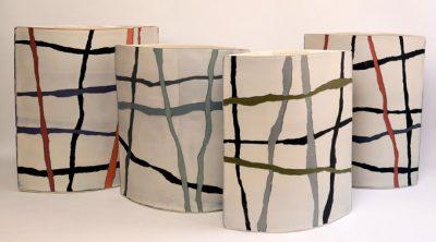 "uliane Herden ""o.T."", 2020, Porzellan, 1) 28x32,5 cm / 2) 26,5x30 cm / 3) 24x30 cm / 4) 25,5x31,5 cm"