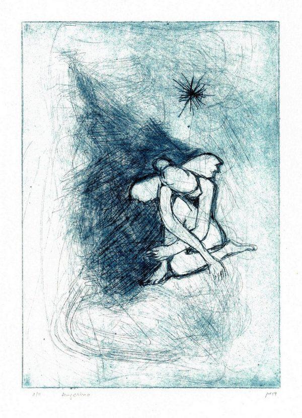 "Michael Wahl ""Angelino"", 2019, Kaltnadel-Radierung 8/11, ca. 20x15 cm auf klassischem Tiefdruckpapier, ca. 39x28 cm inkl. Passepartout, 90€"