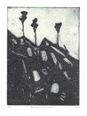 """Michael Wahl """"Brühlsche Terrassen"""", 2020, Radierung und Aquatinta, 6/8, ca. 20x15 cm auf klassischem Tiefdruckpapier ca. 39x28 inkl. Passepartout, 90 €"""