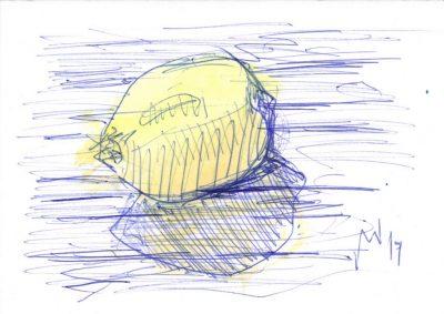 "Michael Wahl, ""Lemon for Andy"", 2019, Kugelschreiber und Aquarell auf Karton, 15x10 cm"
