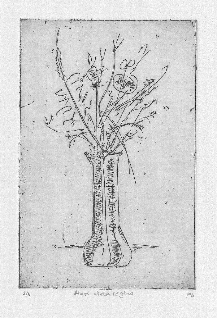 "Michael Wahl, ""fiori della regina"", 2020, Radierung, 2/11, ca. 15x10 cm auf hellgrauem Tiefdruckpapier, 39x28 cm inkl. Passepartout, 90 €"