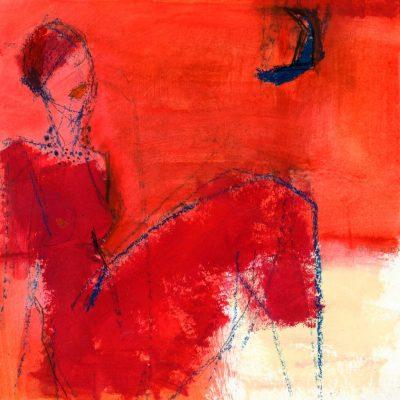 """Sibylle Meister """"Schlafwandlerin"""", 2007, Mischtechnik auf Papier, 30x30 cm"""