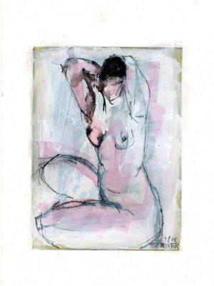 """Sibylle Meister """"Akt (Alina)"""", 2008, Mischtechnik über Radierung, 24,5x18 cm, 210 € inkl. Passepartout"""
