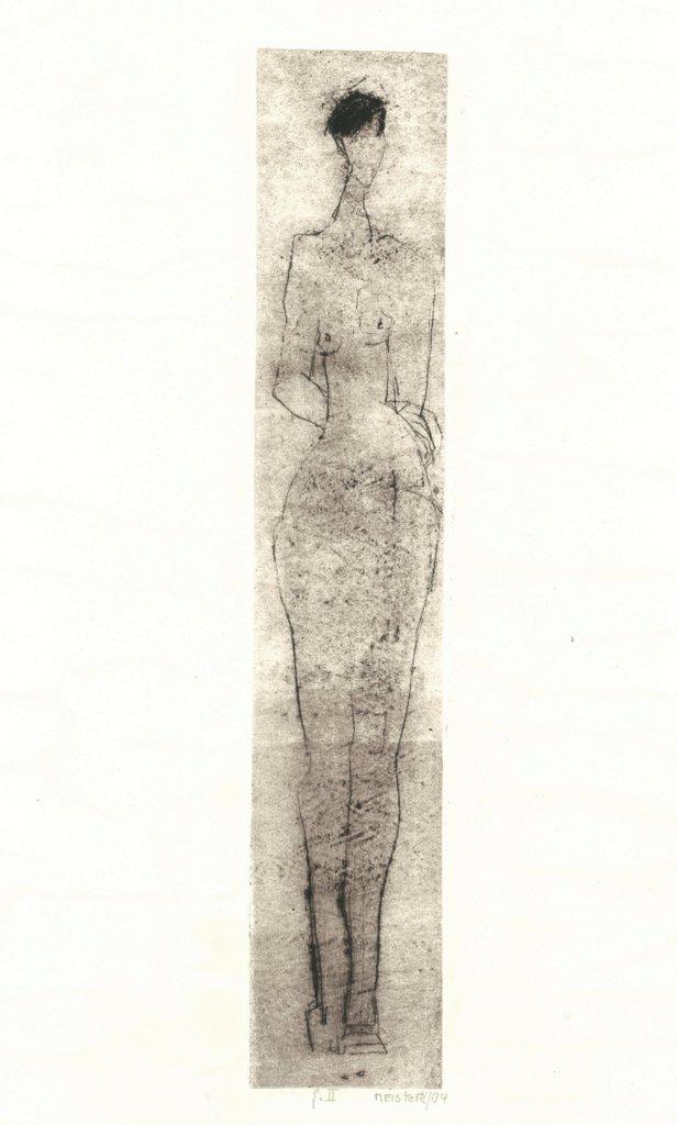 """Sibylle Meister """"feminile"""", 2ßß4, Kaltnadelradierung, 36x6,5 cm, 150 € inkl. Passepartout"""