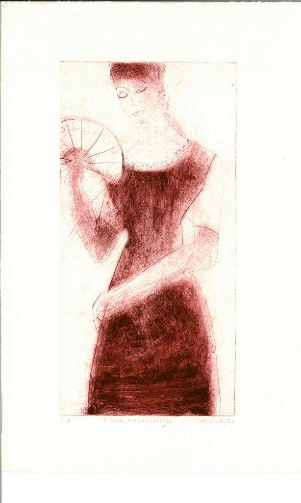 """Sibylle Meister """"figur (andalusisch)"""", 2006, Kaltnadelradierung"""