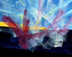 """Koki van Trotten """"Der Morgen der Seele (Sonnenuntergang in Rerik II)"""", 2020, Öl auf Leinwand, 87x113 cm"""