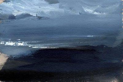 "Verena Hemmerlein ""Düsteres Meer I"", Acryl auf Karton, 15x21 cm, 2020"