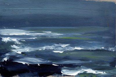 """Verena Hemmerlein """"Düsteres Meer II"""", Acryl auf Karton, 15x21 cm, 2020"""