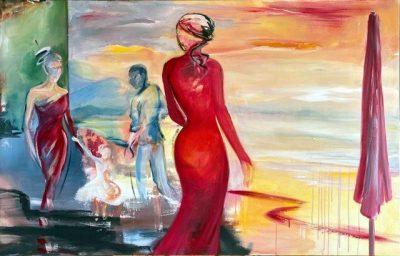 """Verena Hemmerlein """"Begegnungen I"""", Acryl auf Leinwand, 100x170 cm, 2020"""