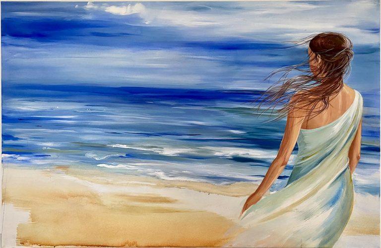 "Verena Hemmerlein, ""Frau am Meer"", 2020, Acryl auf Leinwand, 170x110 cm, 1.600 €"