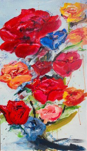 "Verena Hemmerlein. ""shattered flowers"", 2020, Acryl auf Leinwand, 50x86 cm, 750 €"