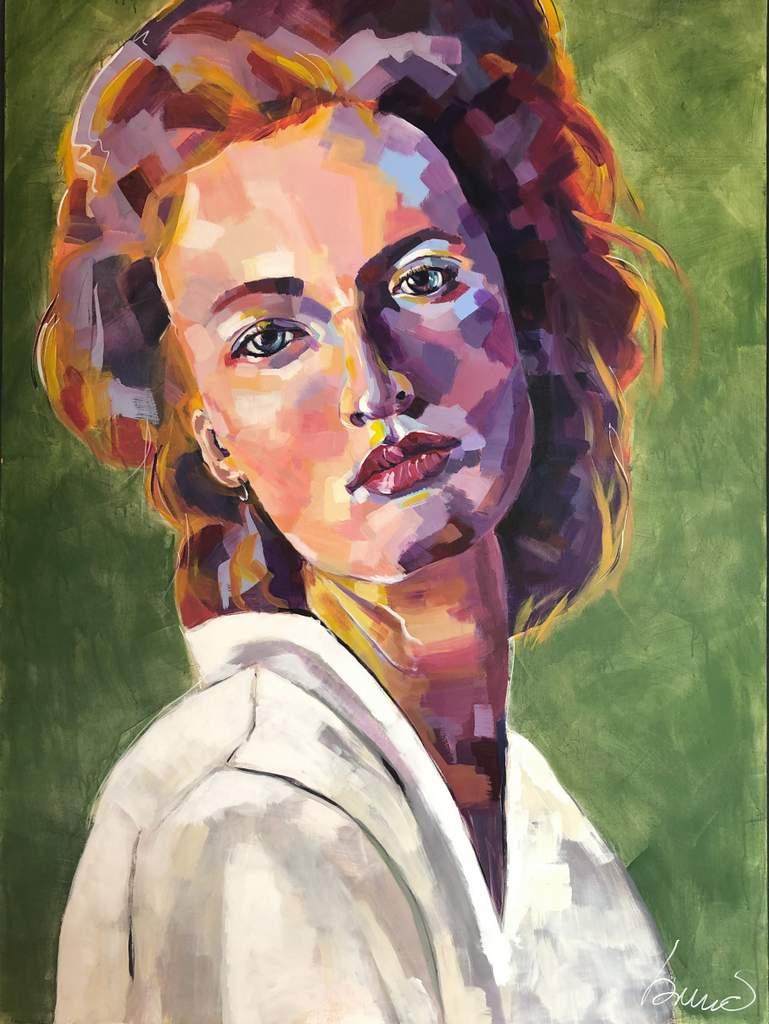 """Bruno F. Apitz, """"Frau in Grün"""", 2019, Acryl auf Keilrahmen, 100x140 cm"""
