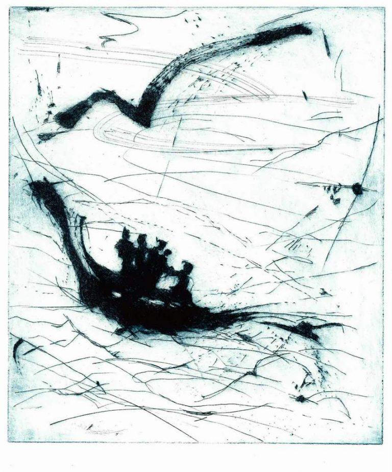 """Jutta Schölzel """"Überfahrt"""", 2021, Kaltnadelradierung, 24,7x28,7 cm"""